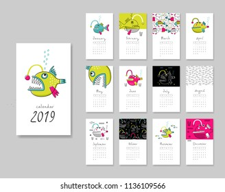 Calendar 2019. Templates with angler theme design. Vector illustration. Pink, blue and green colors.
