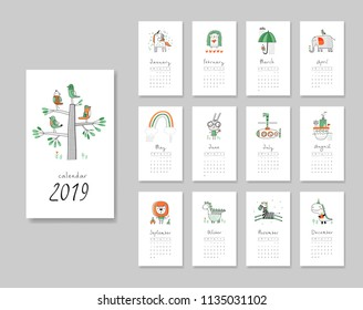 Calendar 2019. Templates with cute hand drawn animals. Vector illustration. Green and orange colors.