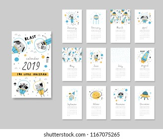 Calendar 2019. Templates with space theme design. Vector illustration in blue and yellow.