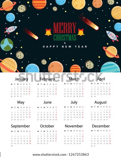 Christmas Comet 2019.Calendar 2019 Trendy Merry Christmas Happy Stock Vector