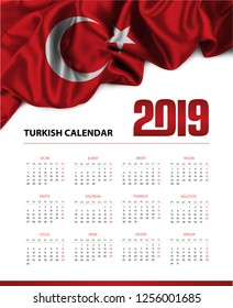 Calendar 2019 in Turkish language, week starts on Monday. Vector calendar 2019 year. (Takvim)