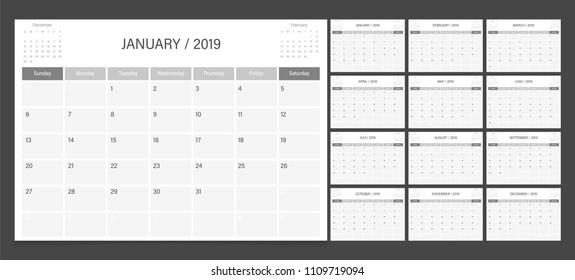 Calendar 2019 week start on Sunday corporate design planner template. Black and white.