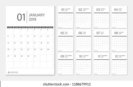 Calendar 2019 week start Sunday corporate design template vector.