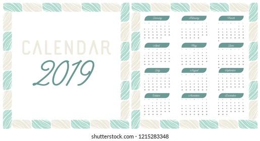 Calendar 2019. Week Starts on Sunday. Set of 12 Months