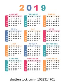Calendar 2019 (week starts with sunday). Vector illustration.