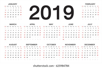 calendar 2019,  Week starts from Sunday, business template