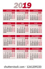 Calendar 2019 witth holidays