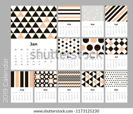 calendar 2019 year a4 cards vector with geometric pattern eps 10