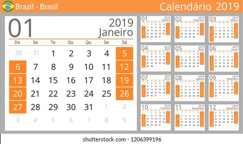 Calendar 2019 year for Brazil country. Portuguese language. Set of 12 Months. Week starts on Sunday