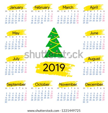 Calendar 2019 Year Christmas Tree Square Stock Vector Royalty Free
