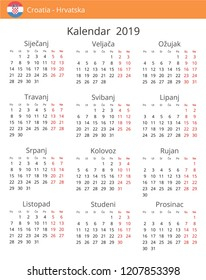 calendar 2019 year for croatia country croatian language in a portrait format with red