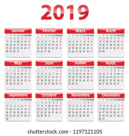 Calendar for 2019 year in French. Vector illustration