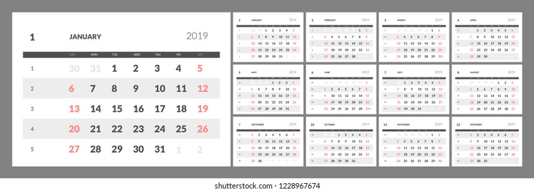 Calendar for 2019 year with numbers of days of weeks. Eps 10
