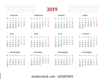 Calendar for 2019 year on white background. Vector design print template. Week starts on Monday. Stationery design