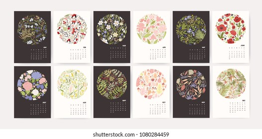 Calendar for 2019 year. Page templates with round seasonal floral decorative elements and months on black and white backgrounds. Effective monthly planner. Modern botanical vector illustration