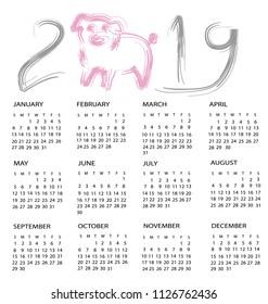 Calendar for 2019, year of pig