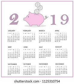 Calendar for 2019 year with piggy bank