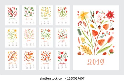 Calendar for 2019 year. Set of page templates with months decorated with beautiful flowers and seasonal plants on white background. Colorful decorative floral vector illustration in modern style.