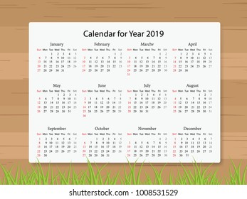 Calendar 2019 year in simple style on wooden texture background. Week starts from Sunday. Vector illustration.