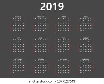 Calendar 2019 year simple style planner. Black background and white symbols.  Week starts from Sunday