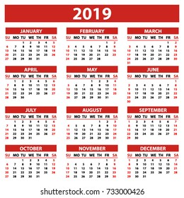 Calendar 2019 year simple style in white background. Week starts from Sunday. Vector illustration