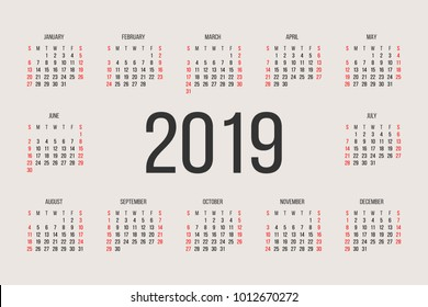 Calendar 2019 year vector design template. Simple 2019 year calendar.  Vector circle calendar 2019. Week starts from Sunday and ends  with Saturday. Font sans serif