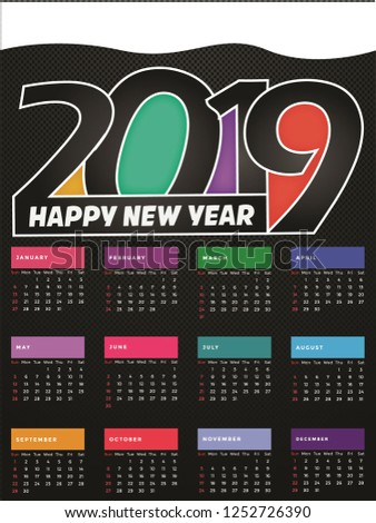 calendar for 2019 year vector design stationery template week starts on monday flat