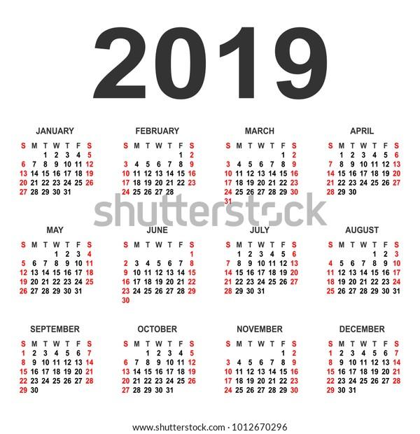 Calendar 2019 Year Vector Design Template Stock Vector