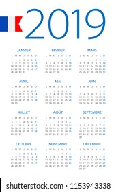 Calendar 2019 year - vector illustration. French version