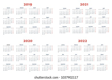Calendar for 2019-2022 Years on Transparent Background. Week Starts at Monday. Simple Vector Template. Stationery Design