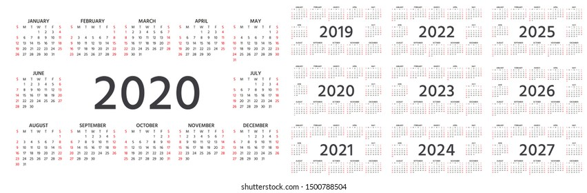 Calendar 2020, 2019, 2021, 2022, 2023, 2024, 2025, 2026, 2027 years. Vector. Week starts Sunday. Stationery template. Yearly calendar organizer in minimal design. Landscape orientation, English.