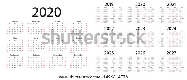 Vector de stock (libre de regalías) sobre Calendario 2020, 2019