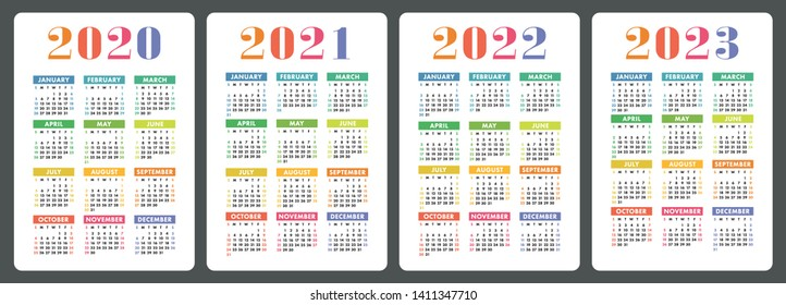 Calendar 2020, 2021, 2022 and 2023. English colorful vector set. Vertical wall or pocket calender template. Design collection. New year. Week starts on Sunday