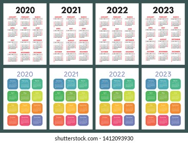Calendar 2020, 2021, 2022 and 2023. English color vector set. Vertical wall or pocket calender template. Golorful big design collection. New year. Week starts on Sunday