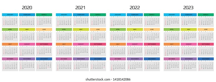 Calendar 2020, 2021, 2022, 2023 template. 12 Months. include holiday event. Week Starts Sunday