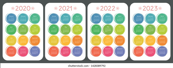 Calendar 2020, 2021, 2022 and 2023. Colorful kid's sketch doodle style. Color round hand drawn frames. English vector set. Vertical wall or pocket calender template. Design collection. New year