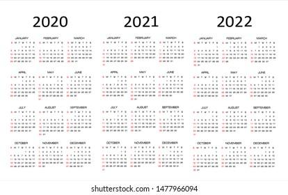Calendar 2020, 2021, 2022, vector illustration. Week starts on Sunday.