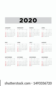 Calendar 2020 2021 2022 year. Vector. Week starts Sunday. Stationery vertical template simple design. Organizer for weeks