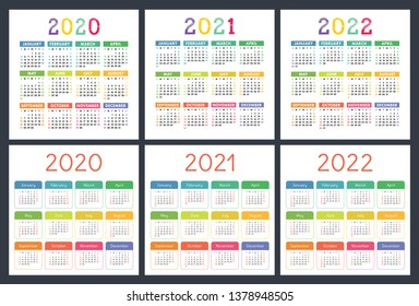 Calendar 2020, 2021, 2022 years. Pocket calender big collection. Colorful set. Week starts on Sunday. Basic grid