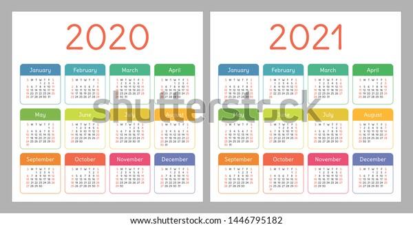 Image vectorielle de stock de Calendrier 2020, 2021. Modèle de