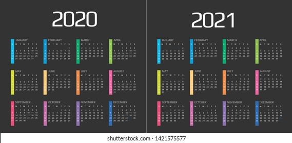Calendar 2020 and 2021 template. 12 Months. include holiday event