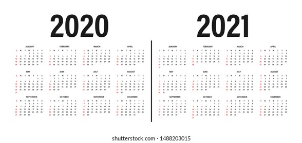 Calendar 2020 and 2021 template. Calendar design in black and white colors, holidays in red colors, week starts on sunday. Vector