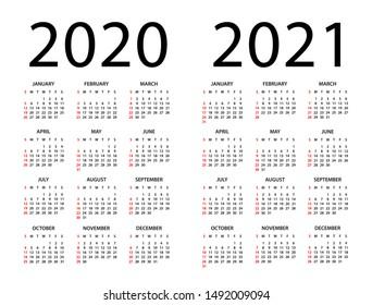 Calendar 2020 2021 year - vector illustration. Week starts on Sunday