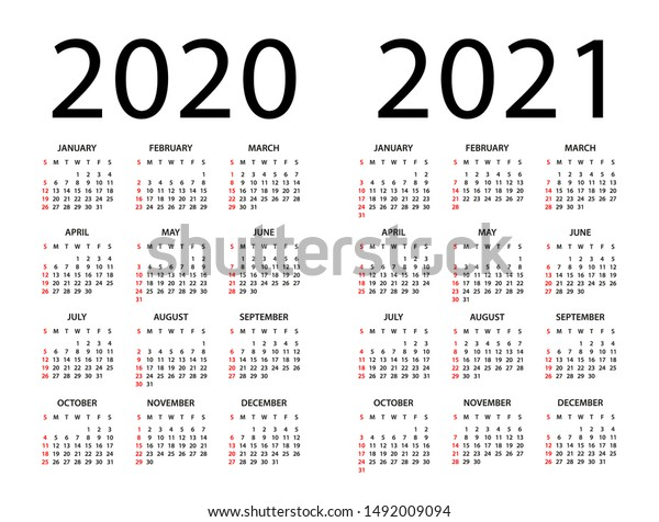 Calendar 2020 2021 Year Vector Illustration Stock Vector (Royalty