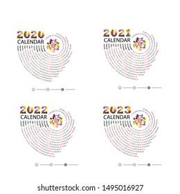 Calendar 2020, 2021,2022 and 2023 Calendar template.Calendar design.Yearly calendar vector design stationery template.Vector illustration.