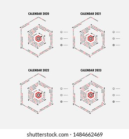 Calendar 2020, 2021,2022 and 2023 Calendar template.Hexagon shape calendar.Yearly calendar vector design stationery template.Vector illustration.