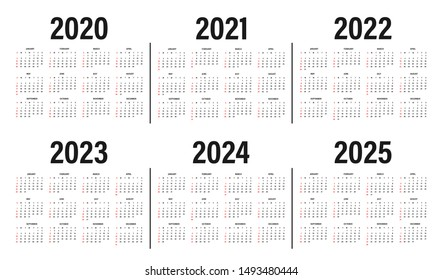 Calendar from 2020 to 2025 years template. Calendar mockup design in black and white colors, holidays in red colors, week starts on sunday. Vector