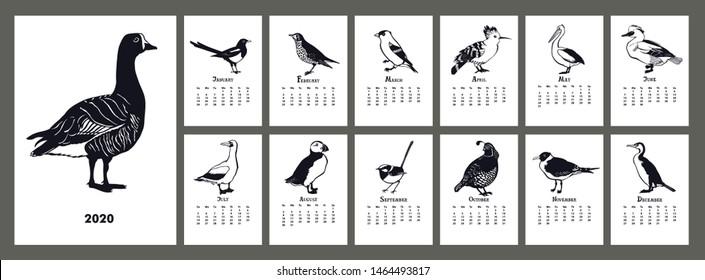 The calendar 2020 The Birds Black silhouette