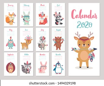 Calendar 2020 with Boho Woodland characters. Cute forest animals. Vector illustration. -  bear, fox, raccoon, panda, deer, rabbit, owl and squirrel.