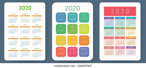 Calendar 2020. Colorful vector set. Pocket calender collection. Week starts on Sunday. Basic grid template for print